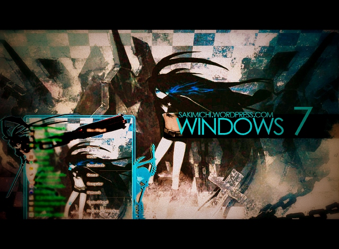 Black Rock Shooter Windows 7 Theme Tutorial